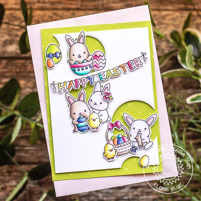 Sunny Studio Stamps Chubby Bunny Easter Card by Eloise with Circle Cutouts