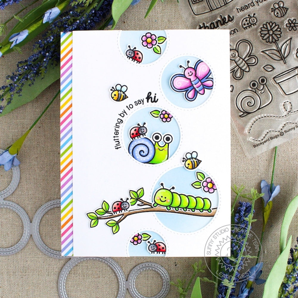 Sunny Studio Backyard Bugs Spring Snail, Caterpillar, Ladybug, Bumblebee & Butterfly Card by Leanne West