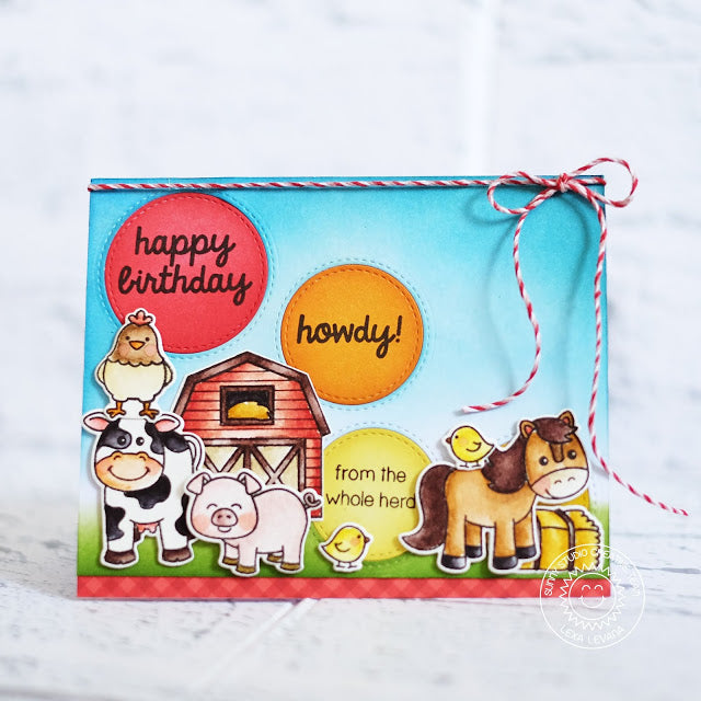 Sunny Studio Stamps Stitched Circle Farm Animal Card (using Staggered Circles Die)