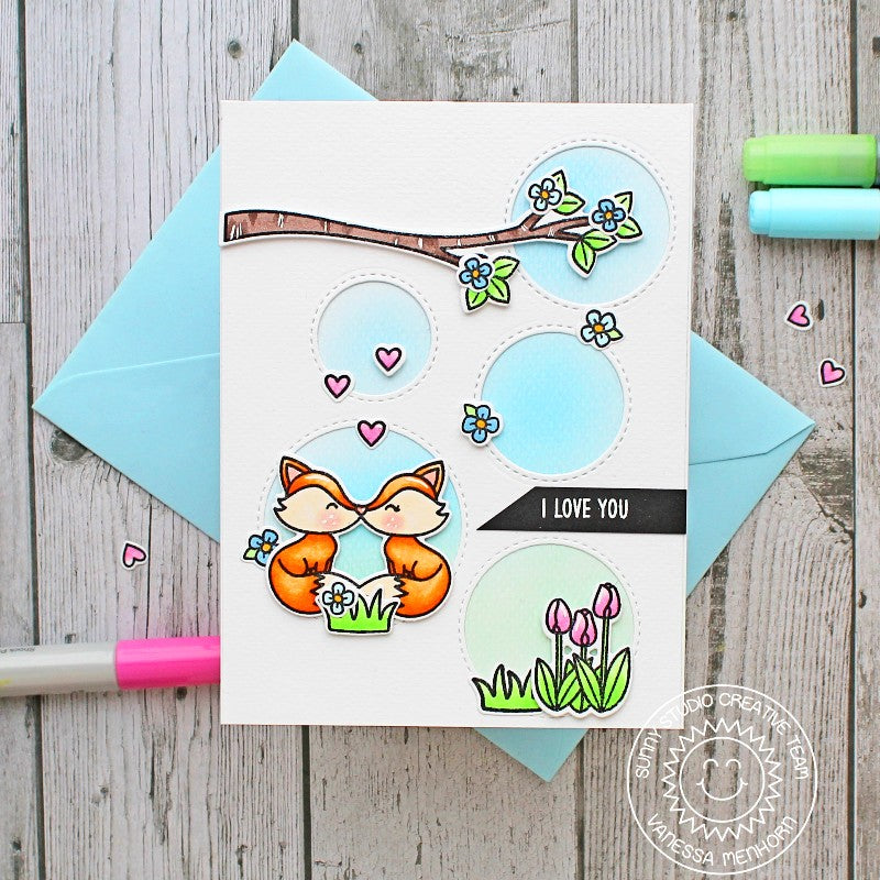 Sunny Studio Stamps Spring Fox Card (using Staggered Circles Die)