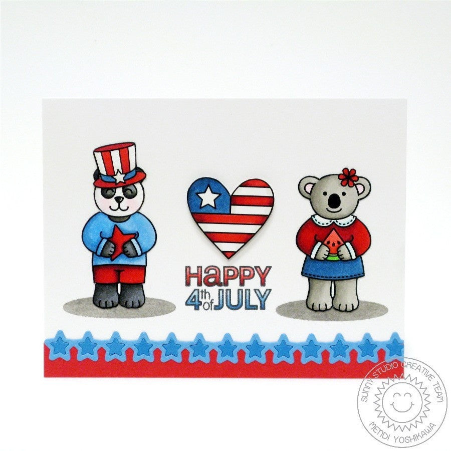 Sunny Studio Stamps Comfy Creatures Fourth of July Panda & Koala Bear Card