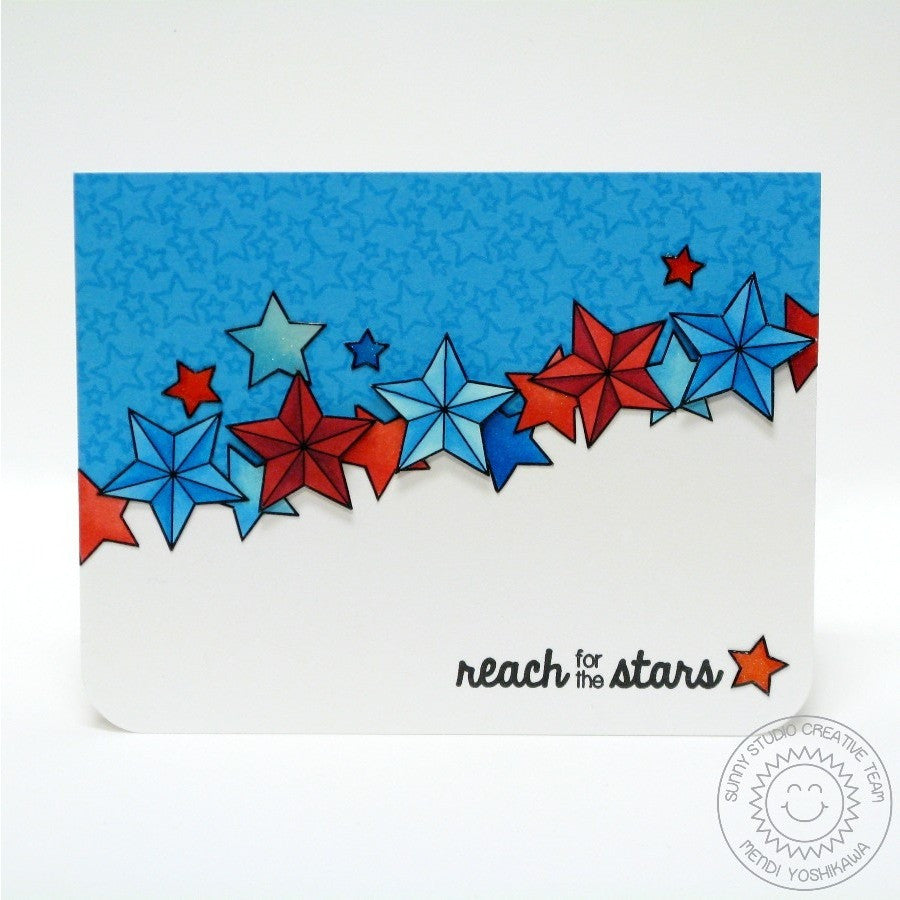 Sunny Studio Stamps Stars & Stripes Patriotic Fourth of July Reach For The Stars Card