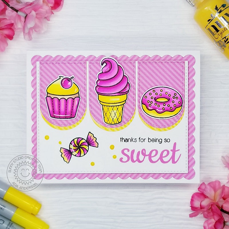 Sunny Studio Thanks For Being So Sweet Pink & Yellow Cupcake, Ice Cream Cone & Donut Handmade DIY Thank You themed Greeting Card (using Sweet Shoppe 4x6 Clear Photopolymer Stamp Set)