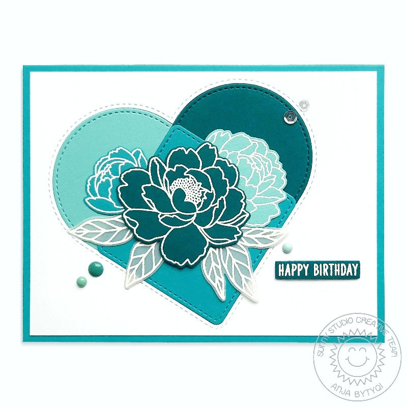 Sunny Studio Stamps CAS Teal & White Monochromatic Graphic Floral Flower Handmade Card (using Pink Peonies 4x6 Clear Photopolymer Stamp Set)