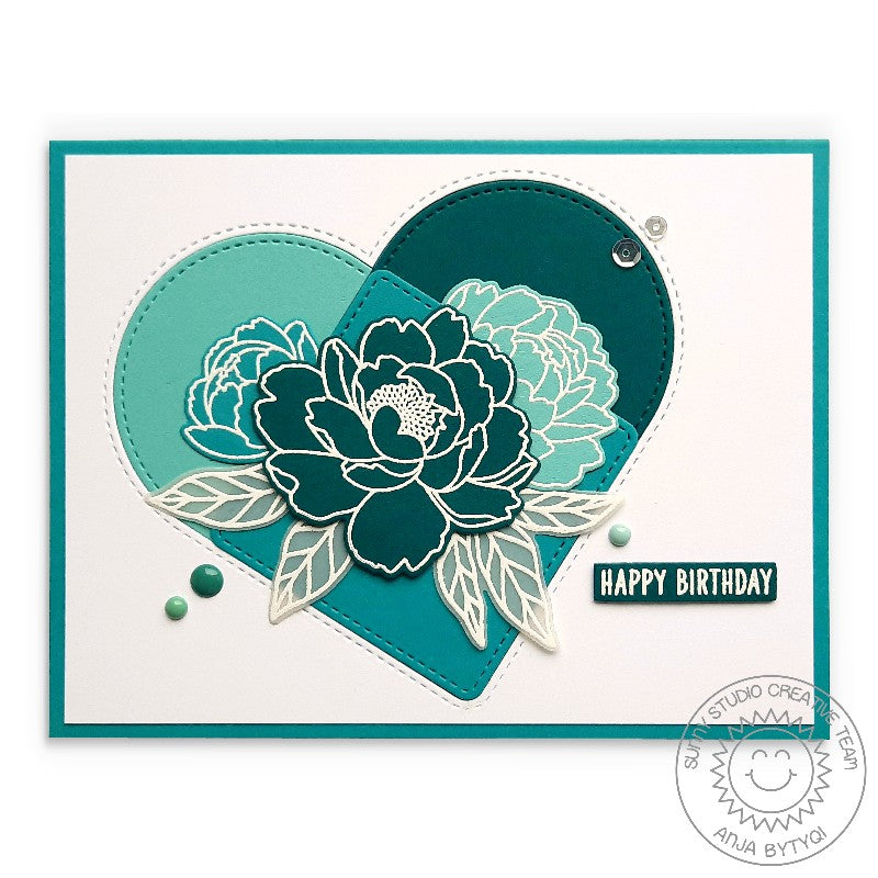 Sunny Studio Stamps CAS Monochromatic Teal Graphic Peonies Stitched Heart Handmade Card (using Stitched Arch Metal Cutting Dies)