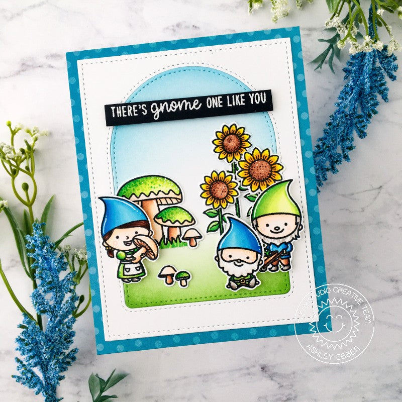 Sunny Studio Stamps There's Gnome One Like You Punny Handmade Card with Arched Window Mat (using Stitched Arch Metal Cutting Dies)