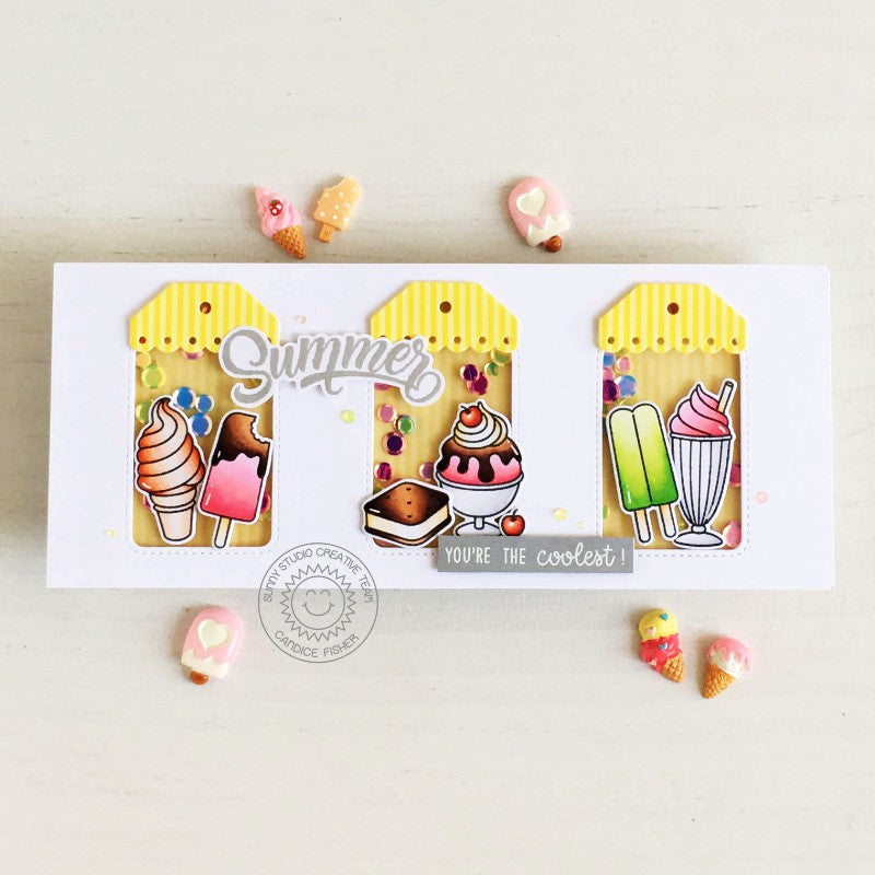 Sunny Studio Stamps Ice Cream Summer Themed Slimline Shaker Handmade Card (using Stitched Arch Nested Metal Cutting Dies)