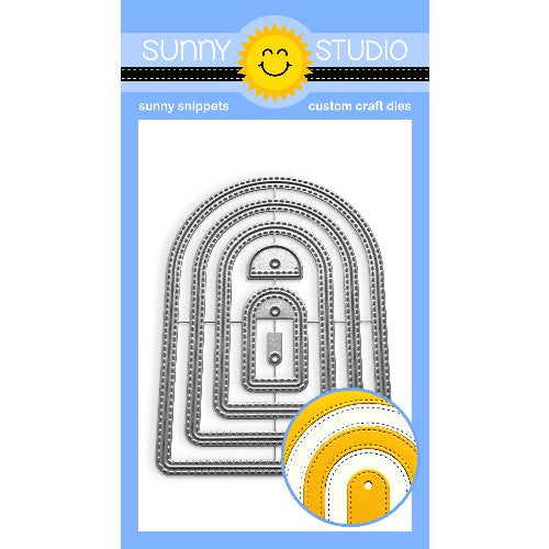 Sunny Studio Stamps Stitched Arch Nesting Metal Cutting Dies to create windows, gift tags and card mats