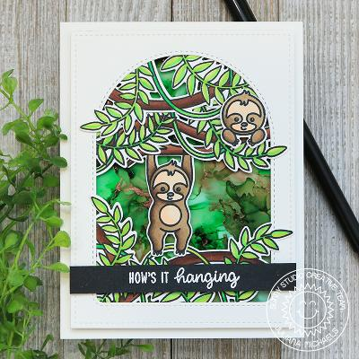 Sunny Studio Stamps How's It Hanging? Sloth Hanging from Jungle Vines Handmade Card with Arched Window (using Stitched Arch Metal Cutting Dies)