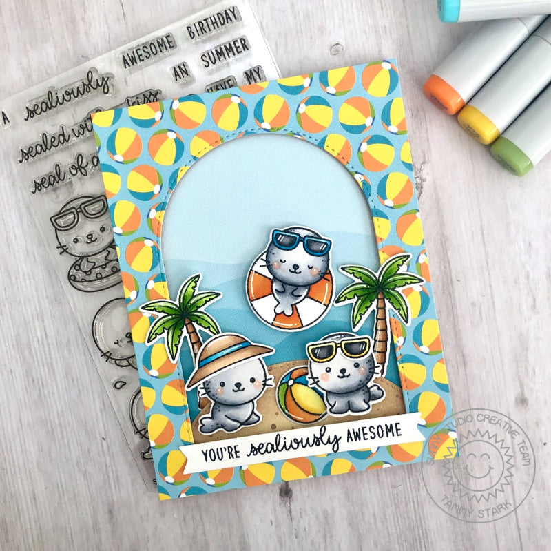Sunny Studio Stamps You're Sealiously Awesome Punny Seal Themed Handmade Card (using Stitched Arch Nested Metal Cutting Dies)