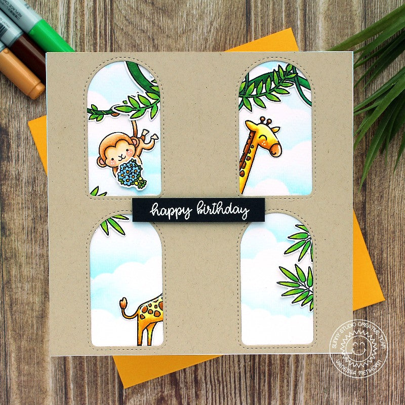 Sunny Studio Stamps Monkey & Stretched Giraffe Square Handmade Card with Arched Windows (using Stitched Arch Metal Cutting Dies)