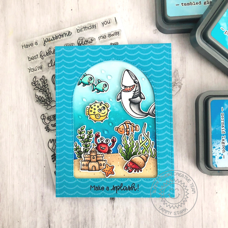 Sunny Studio Stamps Make A Splash Punny Shark, Puffer Fish & Clown fish Ocean Themed Handmade Card with Arched Window (using Stitched Arch Metal Cutting Dies)