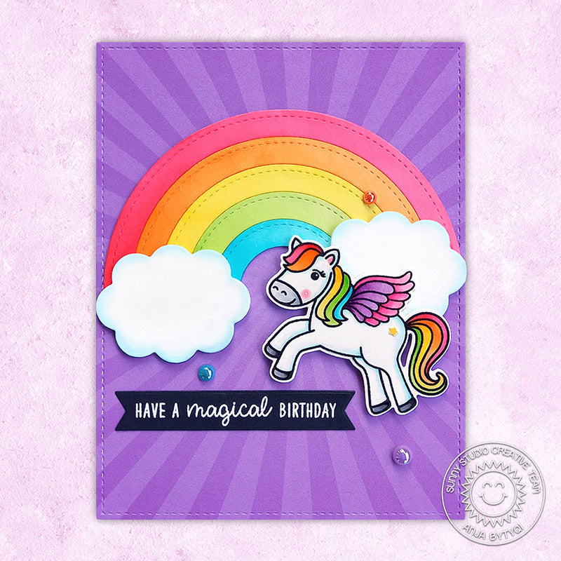 Sunny Studio Stamps Rainbow & Clouds Pegasus Girl's Handmade Birthday Card (using Stitched Circle Large nesting dies)