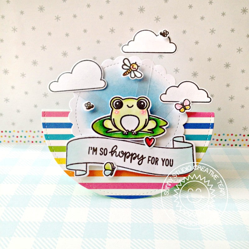 Sunny Studio I'm So Hoppy For You Punny Frog Rainbow Striped Circular Card (using Feeling Froggy 2x3 Clear Stamps)