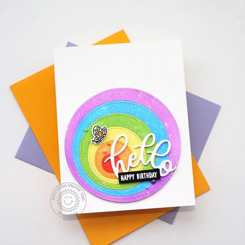 Sunny Studio Stamps Rainbow Offset Circle CAS Clean & Simple Handmade Birthday Card (using Stitched Circle Small nesting Dies)