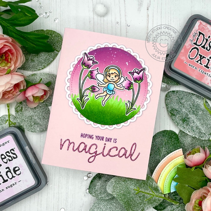 Sunny Studio Stamps Hoping Your Day Is Magical Fairy with Flowers Handmade Card (using Scalloped Circle Mat 3 Dies)