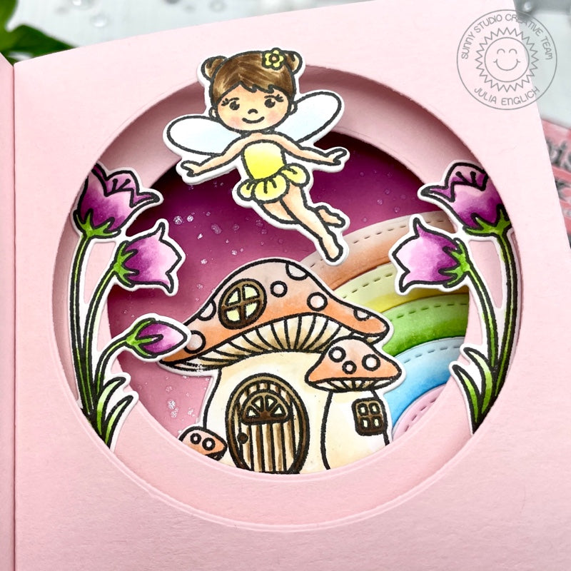 Sunny Studio Stamps Fairy with Rainbow Interactive Pop-up Handmade Card (using Stitched Circle Small Nesting Circles Dies)