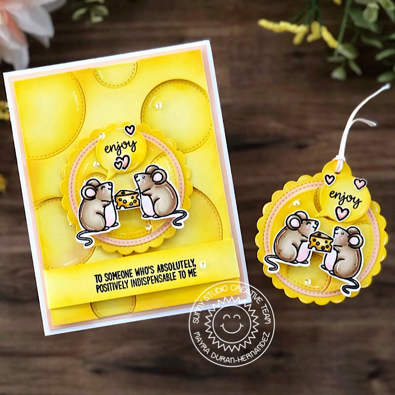 Sunny Studio Stamps Mouse Mice with Swiss Cheese Background Handmade Card (using Stitched Circle Large Nesting Circles Dies)