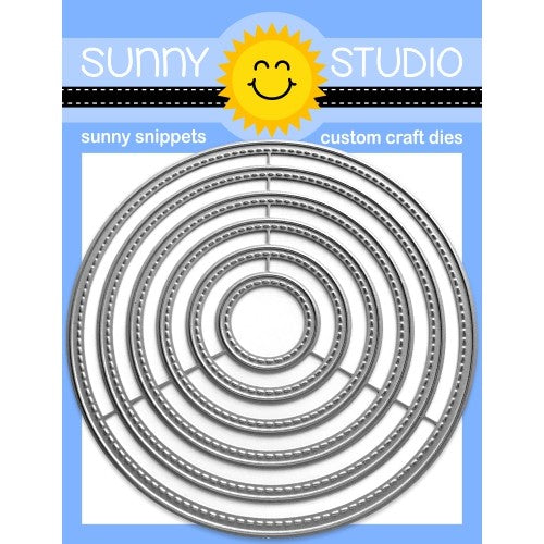 Sunny Studio Stamps Stitched Circle Large Metal Cutting Dies - Nesting 6-piece Set