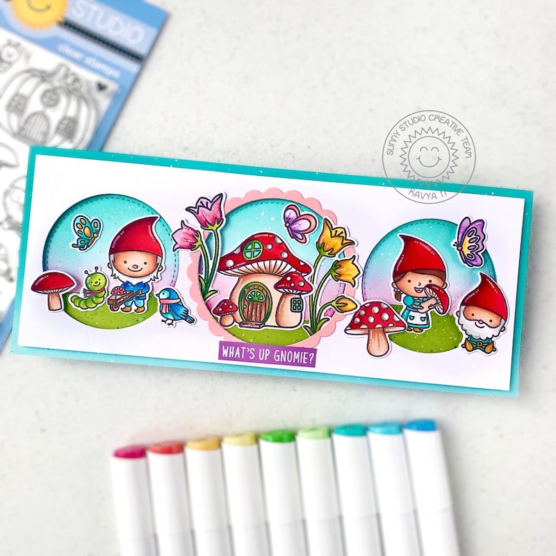 Sunny Studio Stamps Gnomes with Mushroom House Punny Slimline Handmade Card (using Scalloped Circle Mat 1 Dies)