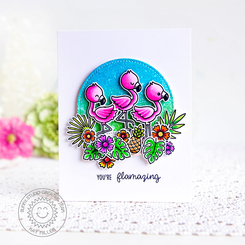 Sunny Studio Stamps You're Flamazing Punny Tropical Hot Pink Flamingo Card (using Stitched Circle Small Nesting Dies)