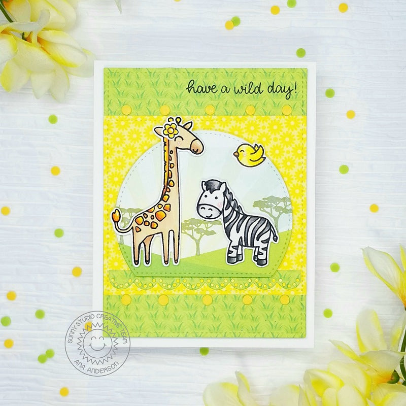 Sunny Studio Have A Wild Day Yellow & Green Giraffe & Zebra Safari Themed Handmade DIY Greeting Card (using Stitched Semi-circle Nesting Metal Cutting Dies Set)