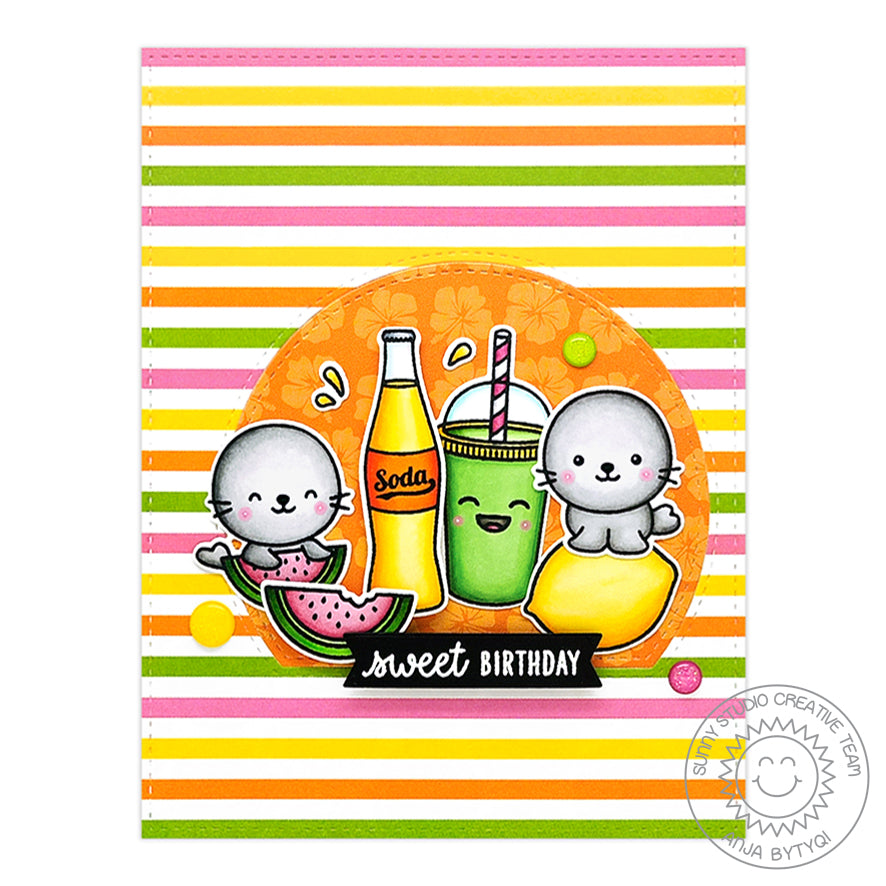 Sunny Studio Stamps Striped Sweet Birthday Summer Seals with Lemons, Watermelon & Soda Pop Bottle Handmade Card (using Sealiously Sweet 4x6 Clear Photopolymer Stamp Set)