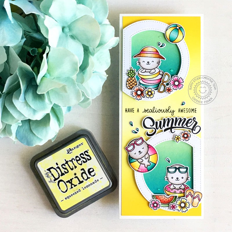 Sunny Studio Stamps Sealiously Awesome Summer Punny Seal Puns Handmade Slimline Card (using Stitched Semi-Circle Nested Metal Cutting Dies)