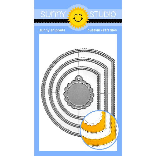 Sunny Studio Stamps Stitched Semi-Circle Nesting Metal Cutting Dies to create windows, card mats & scalloped gift tags