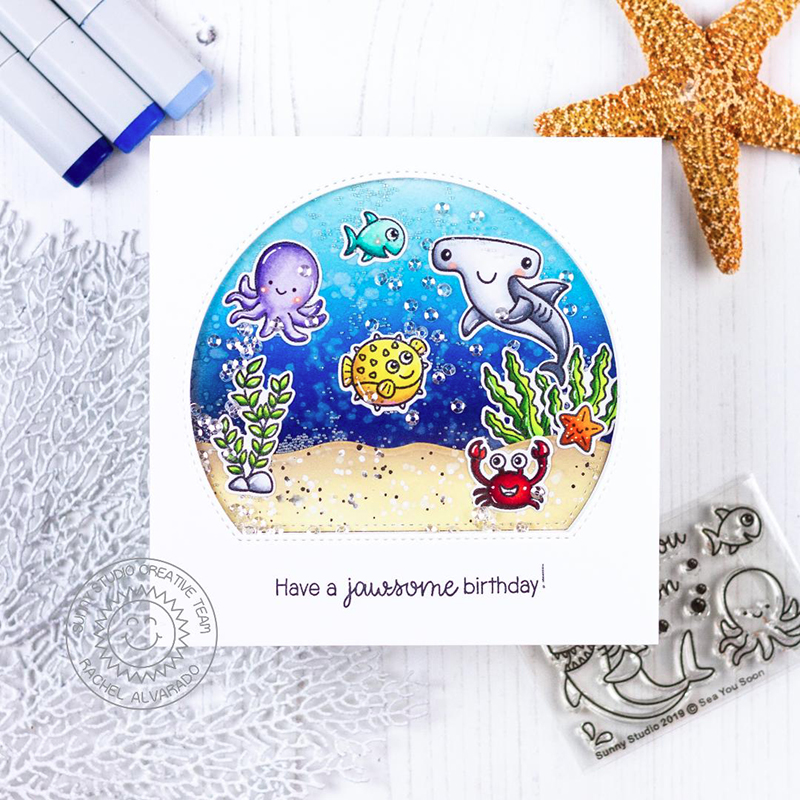 Sunny Studio Stamps Have A Jawsome Birthday Aquarium Window Ocean Themed Handmade Card (using Stitched Semi-Circle Nested Metal Cutting Dies)
