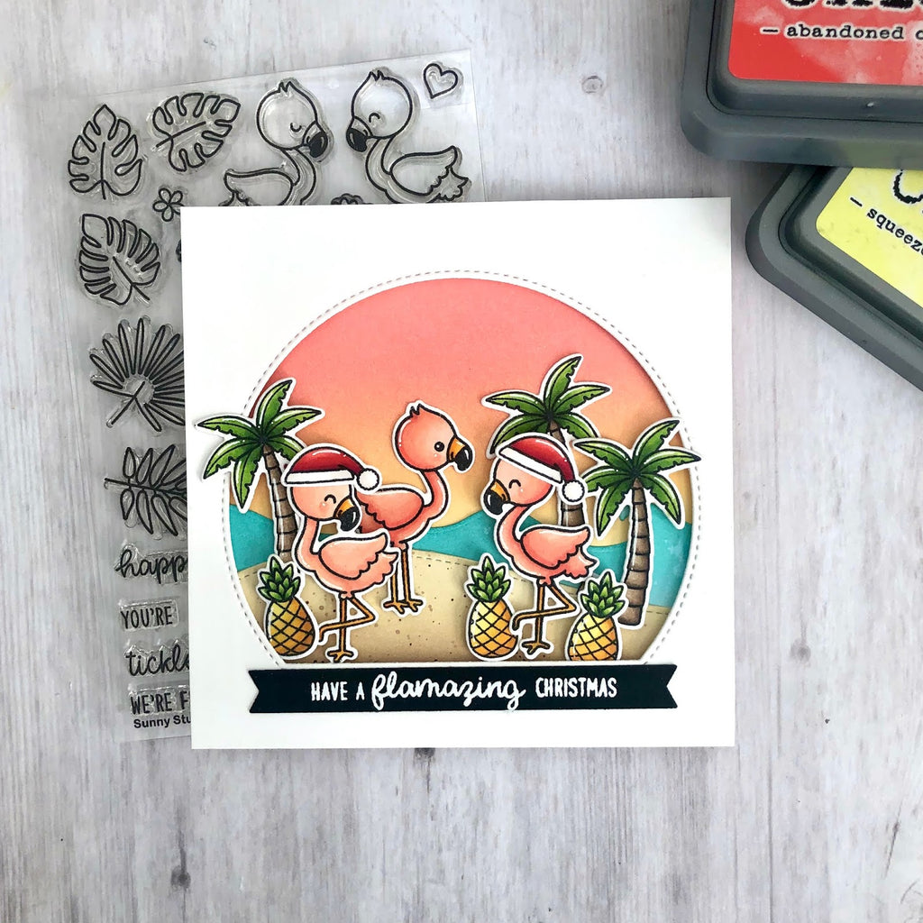 Sunny Studio Christmas in July Have A Flamazing Christmas Punny Flamingo Handmade DIY Holiday Greeting Card (using Fabulous Flamingos 4x6 Clear Photopolymer Stamp Set)