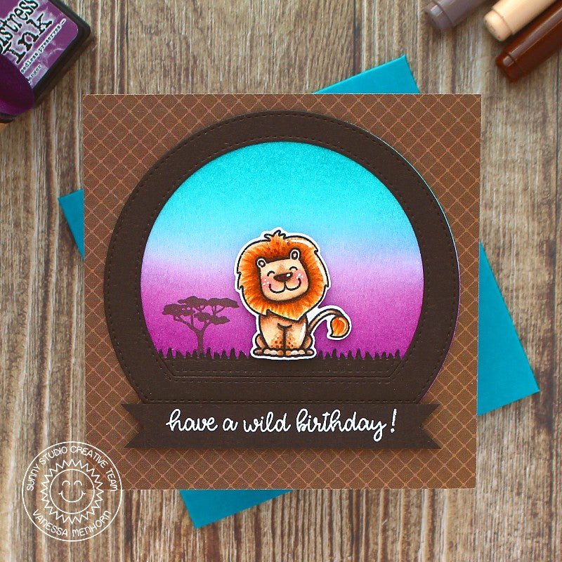 Sunny Studio Stamps Have A Wild Birthday Lion at Sunset Savanna Safari Handmade Card with Curved Window (using Stitched Semi-Circle Metal Cutting Dies)