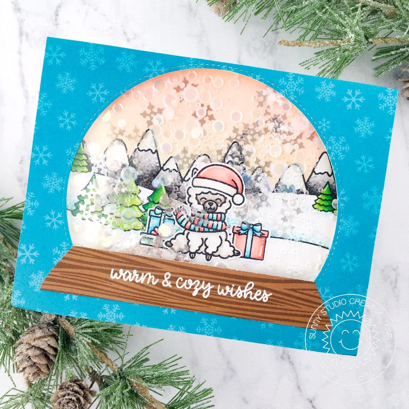 Sunny Studio Stamps Warm & Cozy Wishes Alpaca Snowglobe Snow Globe Snowflake Shaker Handmade Holiday Christmas Card with Curved Window (using Stitched Semi-Circle Metal Cutting Dies)