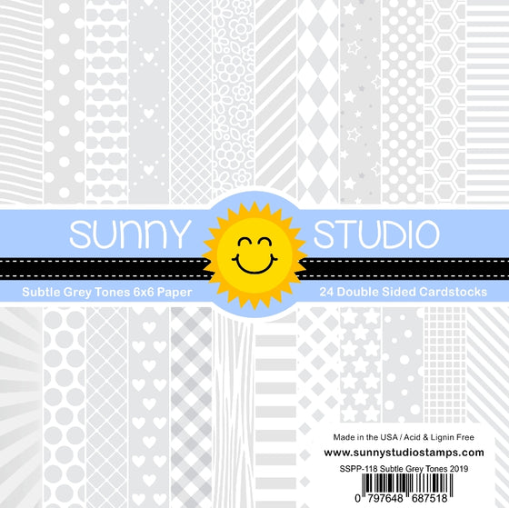 Sunny Studio Stamps Subtle Grey Tones Tone-on-Tone 6x6 Double-sided Patterned Paper Cardstock Pack - 24 Sheets