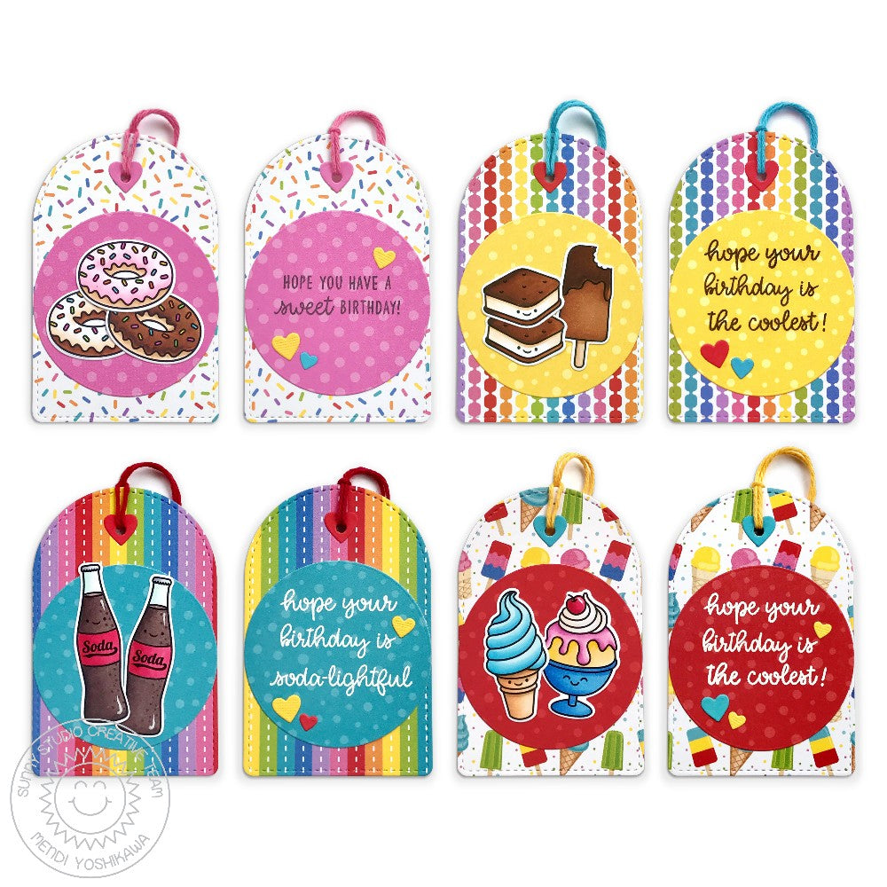 Sunny Studio Stamps: Donut, Ice Cream Cone, Sundae, Popsicles & Soda Pop Rainbow Birthday Gift Tags Set (using Stitched Arch Metal Cutting Dies)