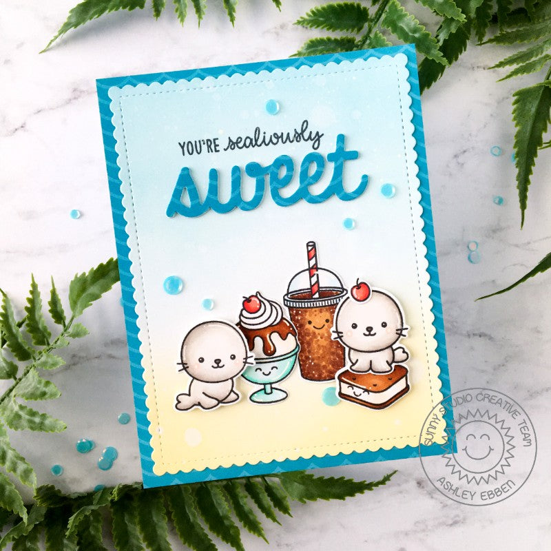Sunny Studio Stamps Seals with Ice Cream Sundae, Sandwich and Soda Pop You're Sealiously Sweet Handmade Card (using Sealiously Sweet 4x6 Clear Photopolymer Stamp Set)