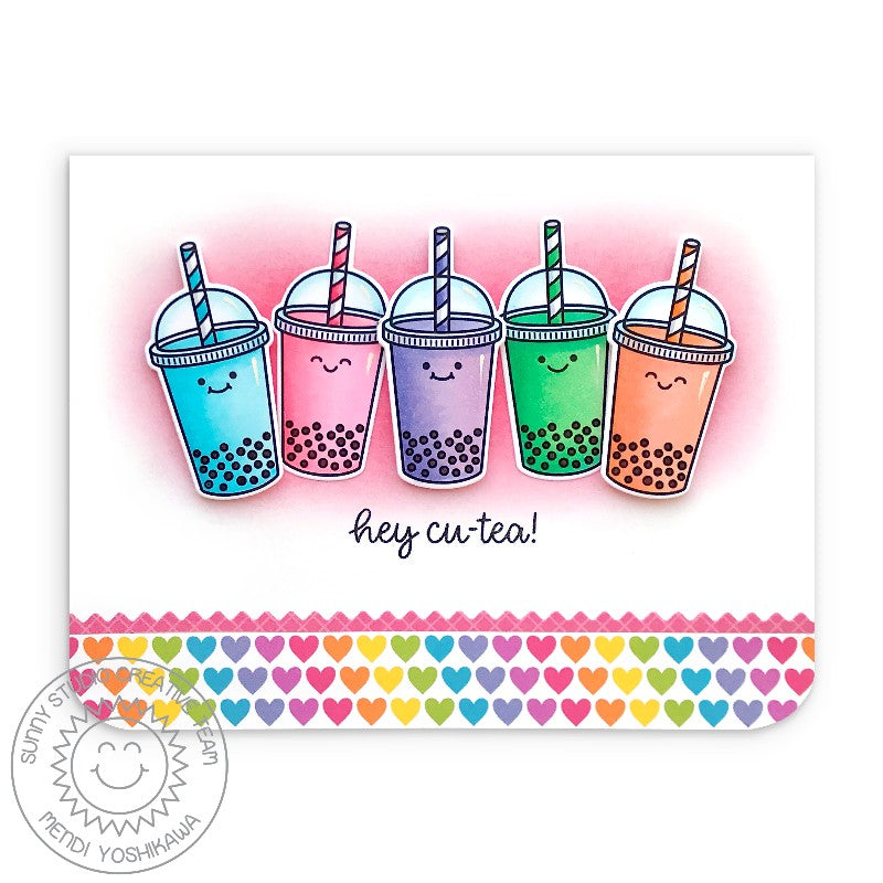 Sunny Studio Stamps Boba Tea Rainbow Heart Punny Puns Hey Cu-Tea Handmade Card (using Summer Sweets 4x6 Clear Photopolymer Stamp Set)