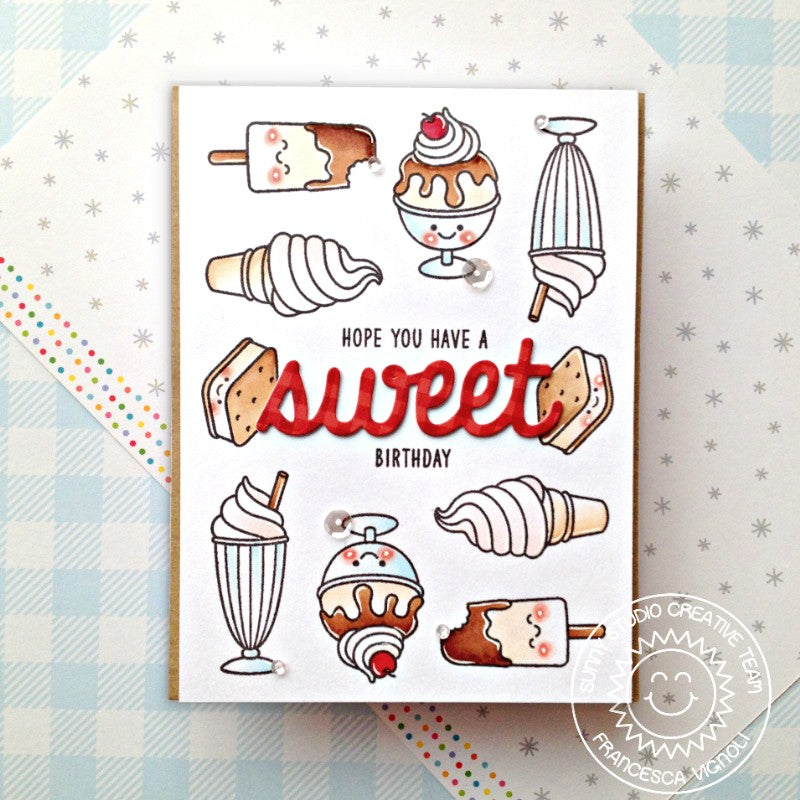 Sunny Studio Stamps Have a Sweet Birthday Chocolate Ice Cream Cones, Sundaes, Milkshake & Fudge Popsicles Handmade Card (using Summer Sweets 4x6 Clear Photopolymer Stamp Set)