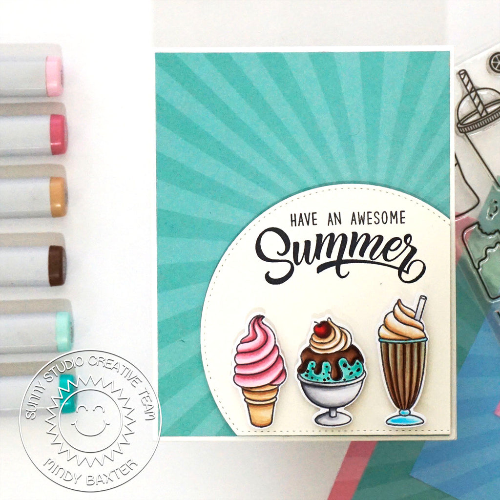 Sunny Studio Stamps Summer Sweets Ice Cream Cone, Sundae and Milkshake Handmade Summer Sunburst Card (using Stitched Semi-Circle Metal Cutting Dies)