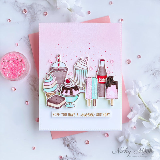 Sunny Studio Stamps Hope You Have A Sweet Birthday Ice Cream Cone, Sundae, Soda Pop Bottle, Popsicle, & Milkshake Pink, Aqua & Brown Handmade Card (using Summer Sweets 4x6 Clear Photopolymer Stamp Set)