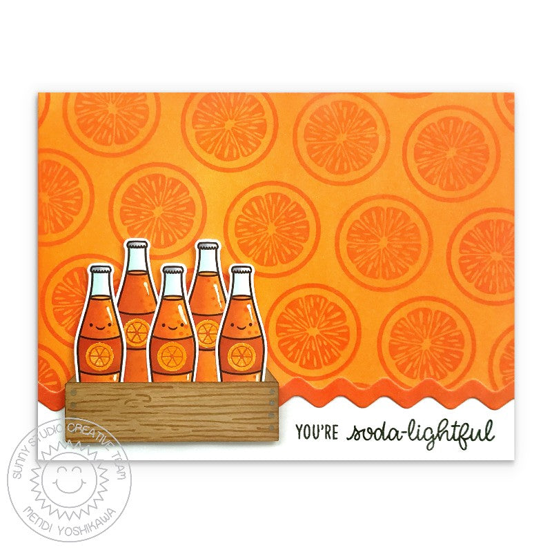 Sunny Studio Stamps: You're Soda-lightful Punny Orange Slice Soda Pop Card (using Summer Sweets 4x6 Photopolymer Clear Stamp Set)