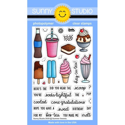 Sunny Studio Stamps Summer Sweets Treats Soda Pop, Boba Tea, Smoothie, Ice Cream Sandwich, Sundae, Cone, Popsicle & Milkshake Summer Punny Puns 4x6 Clear Photopolymer Stamp Set