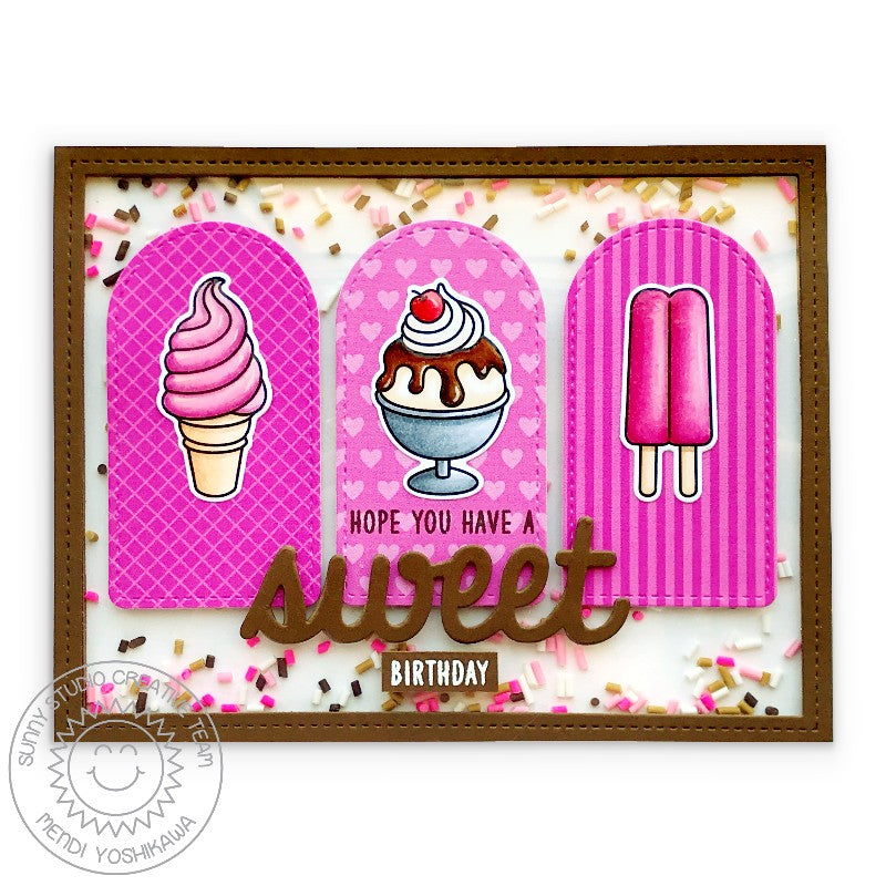 Sunny Studio Stamps Ice Cream Cone, Sundae & Popsicle Sweet Birthday Handmade Card (using Frilly Frames Herringbone Background Backdrop Metal Cutting Dies to create window frame)