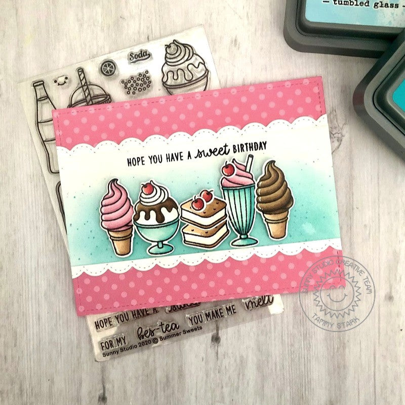 Sunny Studio Hope you Have a Sweet Birthday Ice Cream Cone, Sundae & Milk Shake Handmade DIY Greeting Card (using Summer Sweets 4x6 Clear Photopolymer Stamp Set)