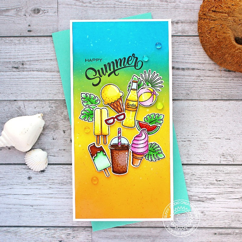 Sunny Studio Stamps Tropical Cool Treats Ice Cream Themed Handmade Slimline Card (using Summer Sweets 4x6 Clear Photopolymer Stamp Set)