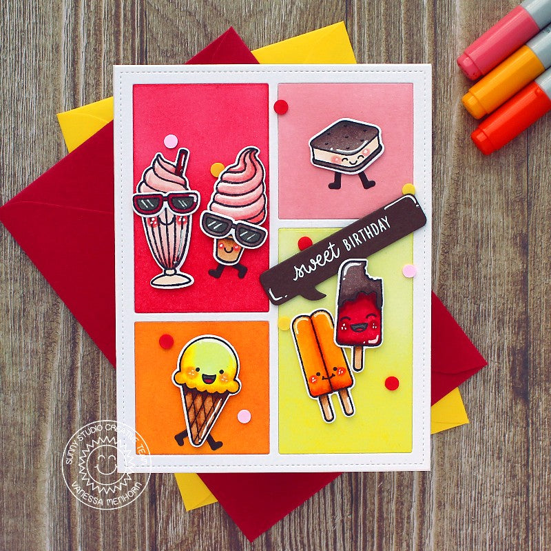 Sunny Studio Stamps Ice Cream Cone, Sundae & Popsicle Sweet Birthday Wishes Summer Handmade Grid Style Card (using Comic Strip Speech Bubbles Metal Cutting Dies)