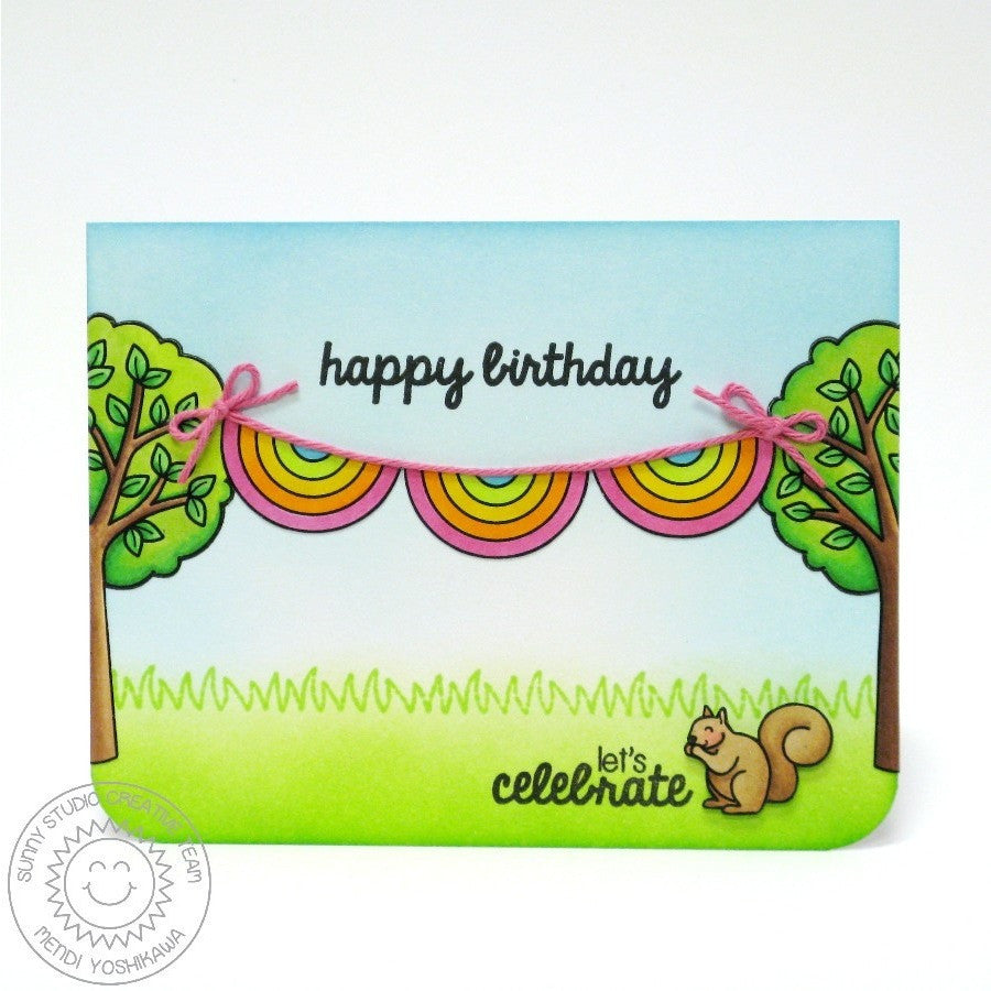 Sunny Studio Stamps Summer Picnic Squirrel in Park Card
