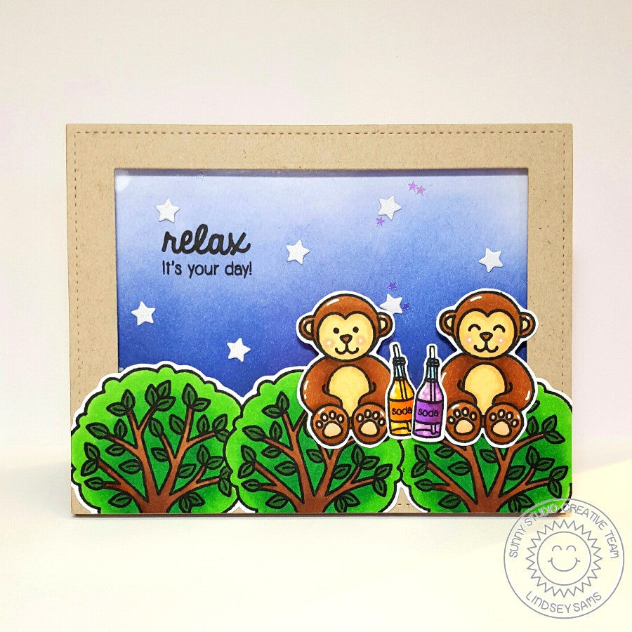 Sunny Studio Stamps Summer Picnic Monkey in Trees Card