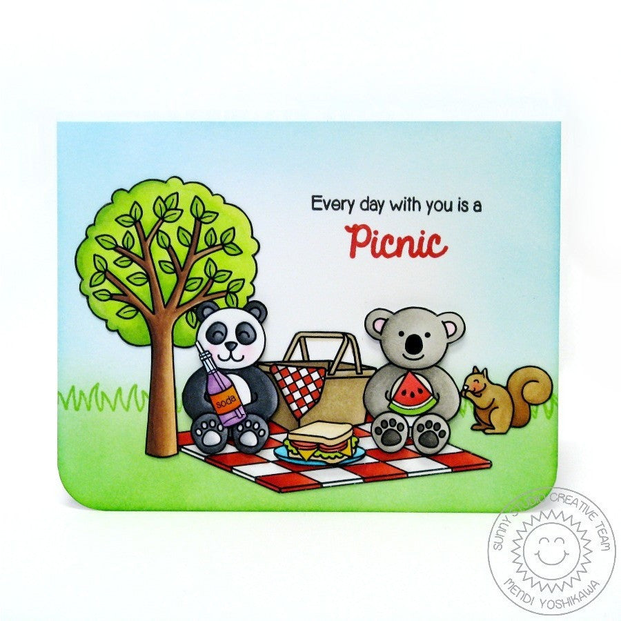 Sunny Studio Stamps Comfy Creatures Teddy Bear Picnic Card