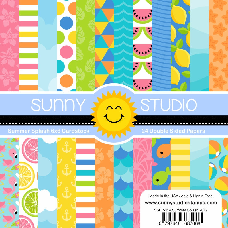 Sunny Studio Stamps Summer Splash 6x6 Double Side Patterned Paper Pack